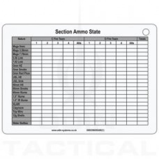 A6 Section Ammo Slate Card