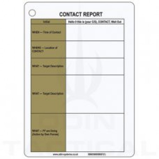 A6 Contact Report Slate Card
